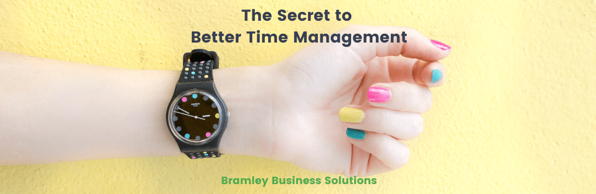 "Woman's wrist with watch, showing title of article across the top ""the secret to better time management"""
