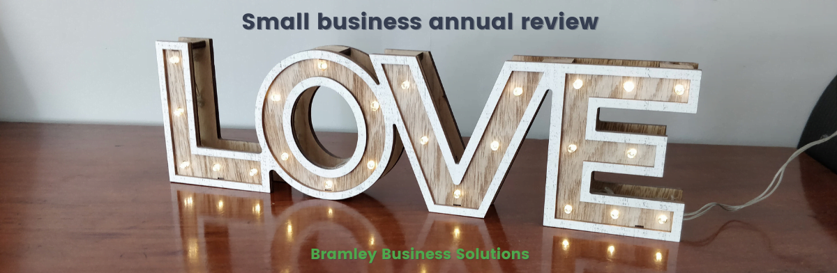 the word 'love' in lights with the title of the blog above, small business annual review