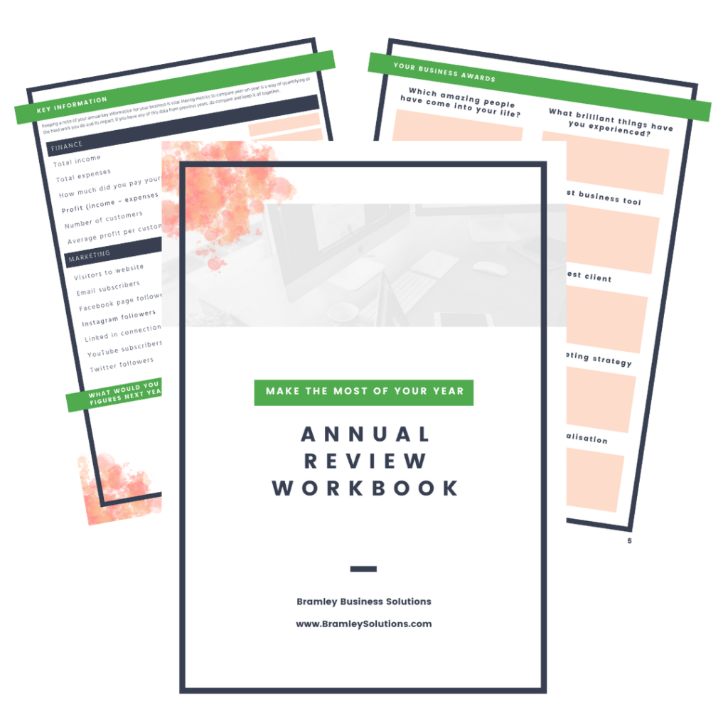previews of pages of the small business Annual review workbook