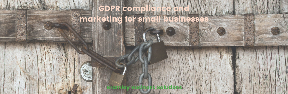 padlock over a wooden door with the blog title GDPR compliance and marketing for small businesses